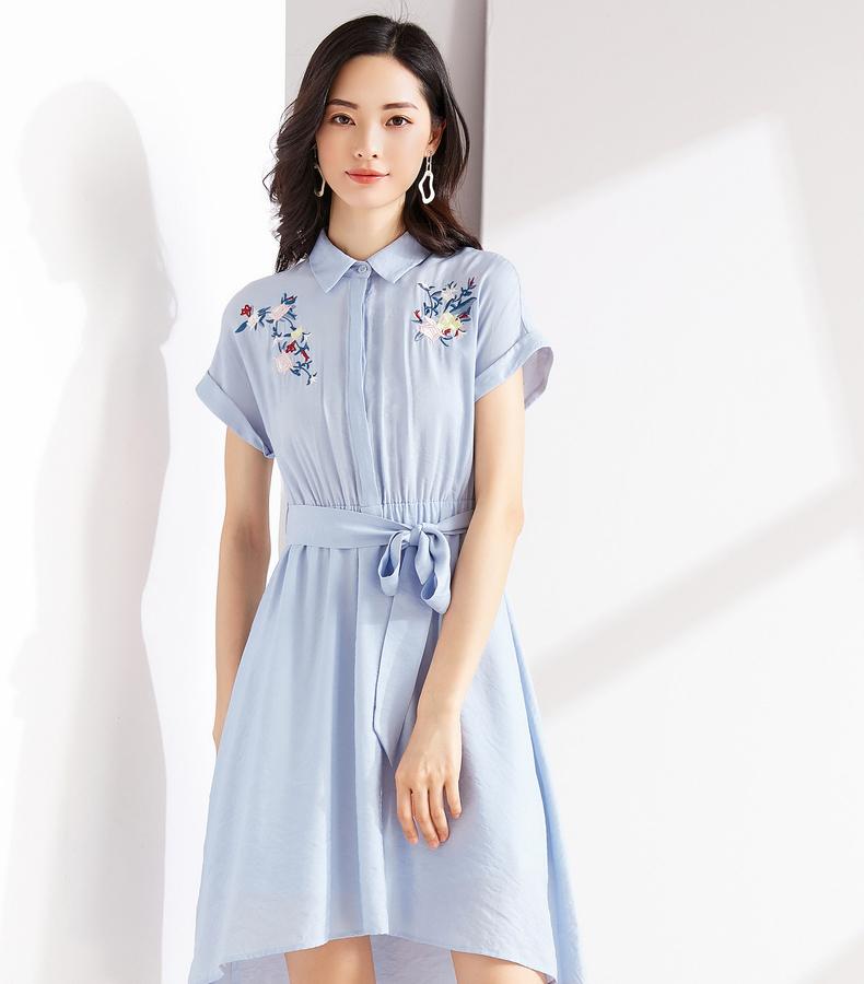 Giá mới 129 nhân dân tệ [] 2018 mùa hè ngắn tay áo váy thêu eo A-dòng váy cổ tích cực dịu dàng