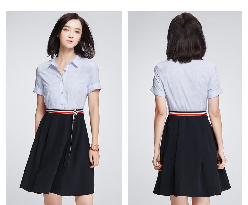 [Giá mới 149 nhân dân tệ] 2018 mùa hè mới sọc polo cổ áo khâu ngắn tay áo đầm đầm