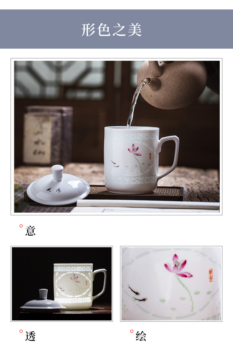 Hand draw pastel and exquisite tea cups with cover creative vintage glass office of jingdezhen ceramic tea cup