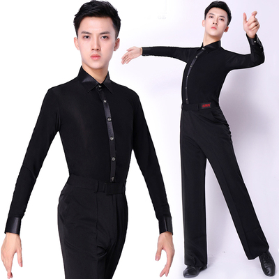 Latin Dance Shirts Ballroom Dance Shirts Dancing Costume National Standard Modern Latin dancing clothes Men perform shirts
