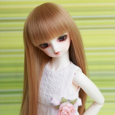 taobao agent 1/4BJD/SD doll doll doll wig quarter-length straight and smooth hair with one cut and bangs baby hair-FB15