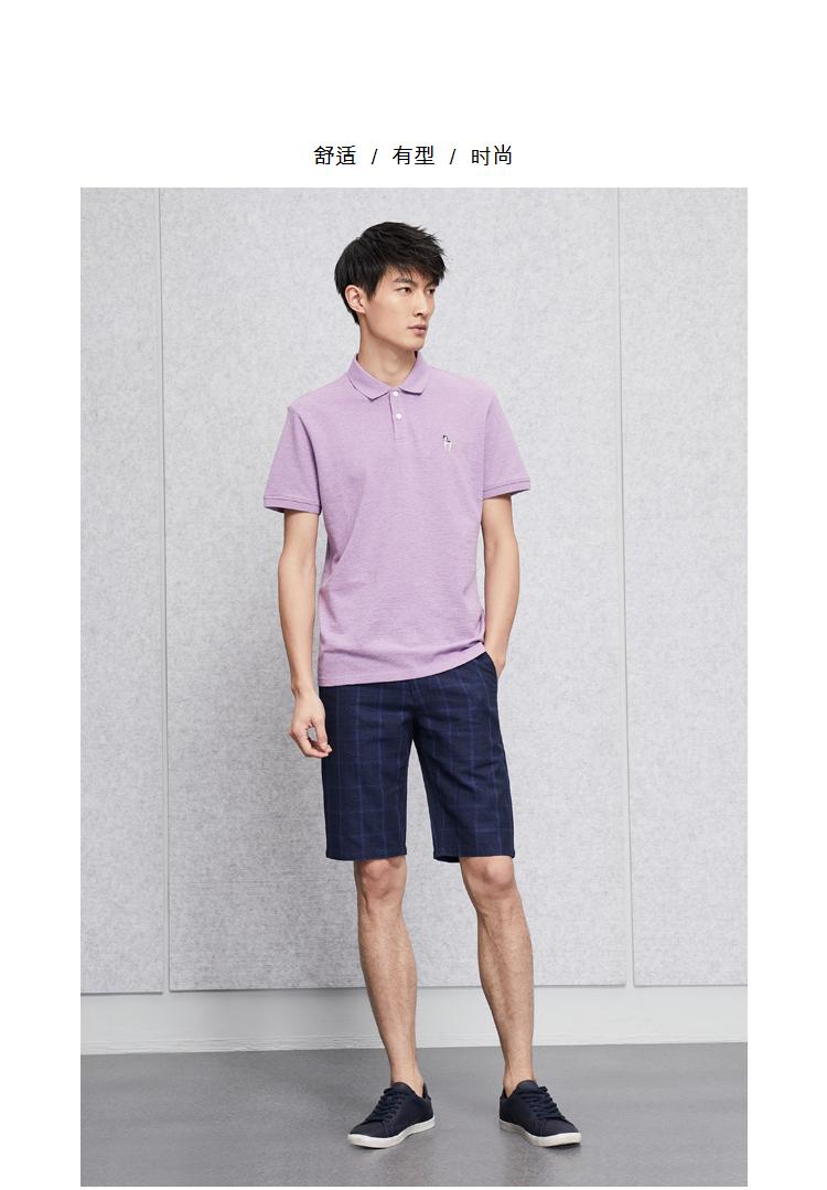 HLA Haishu Nhà net màu thêu ngắn tay T-Shirt 2018 mùa hè mới đơn giản ngắn tay áo polo nam áo thun nam polo