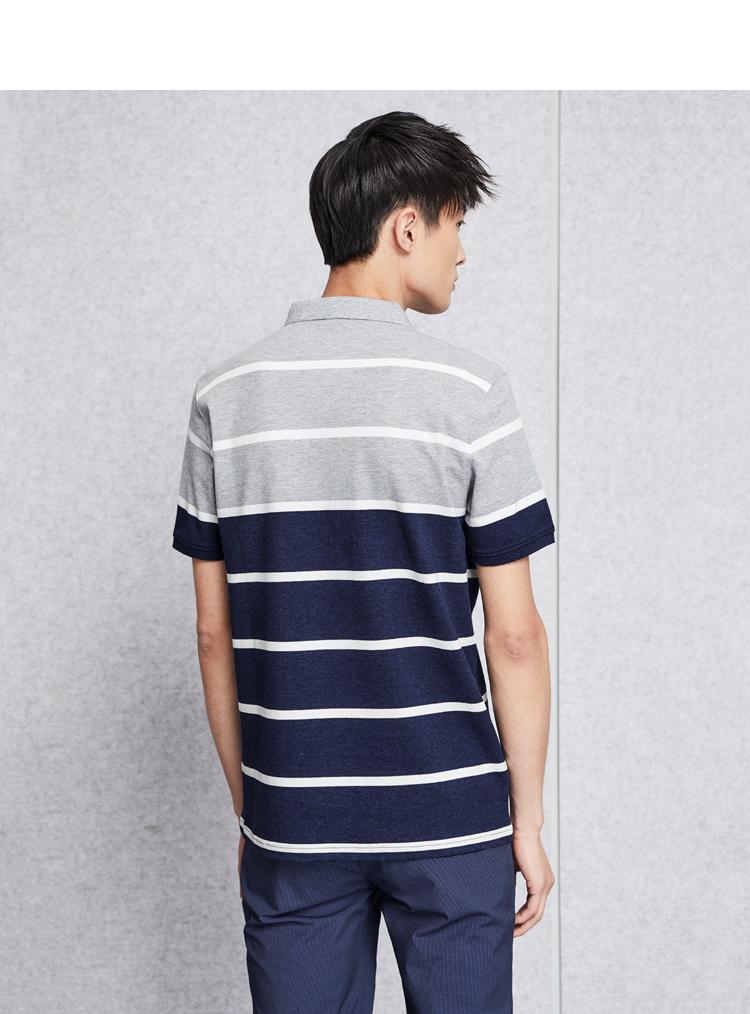 HLA Haishu Nhà giản dị sọc ngắn tay T-Shirt 2018 mùa hè mới thoải mái ngắn tay áo polo nam áo phông kẻ ngang nam