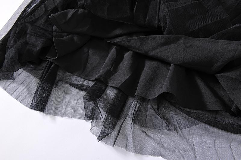名媛! 奧系列 高腰透氣中長款帶腰封網紗百褶半裙AJ86099 - S/M/L