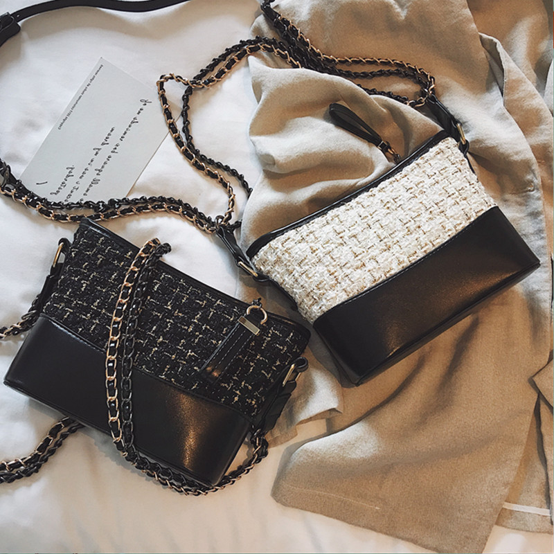 Ins super fire fashion wandering bag female 2018 autumn new wild rhombic single shoulder hit color woolen chain chain diagonal package
