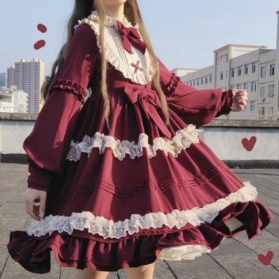 taobao agent Miao original design rose love OP long sleeve waist waist spring and summer girlfriends twin lolita dress dress