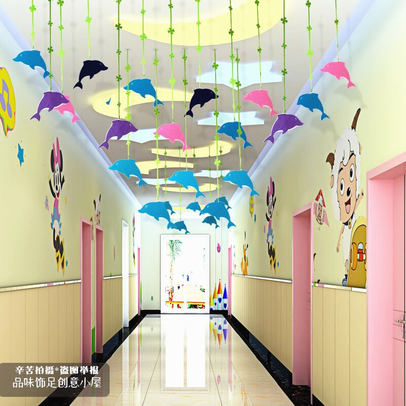 9 Easy Home Decorating Ideas For Summer: Kindergarten Charm Mall Corridor Aerial Creative Ornaments