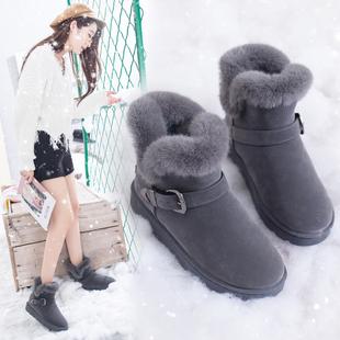 雪地靴女2018新款女士百搭搭扣棉鞋