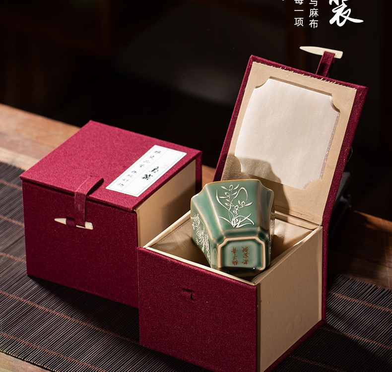 The Owl up jingdezhen tea set manually old name plum green square silver painting masters cup kunfu tea cups antique tea sets