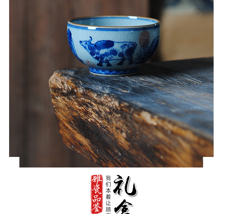 Owl up jingdezhen porcelain tea set maintain open the slice clay glaze five NiuTu cups kongfu master cup single CPU