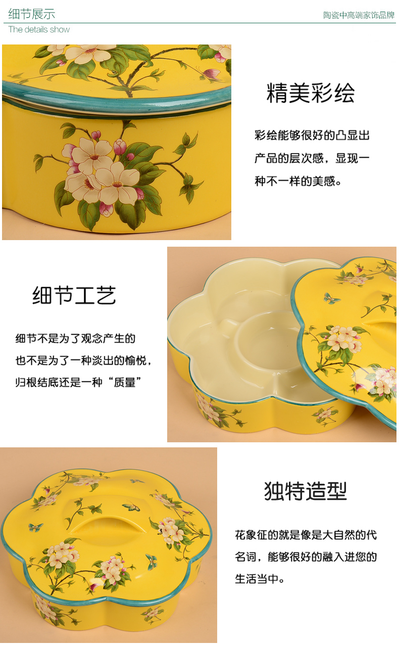 New Chinese style ceramic 'lads' Mags' including nuts dried fruit box sitting room tea table frame with cover the receive a case American home furnishing articles