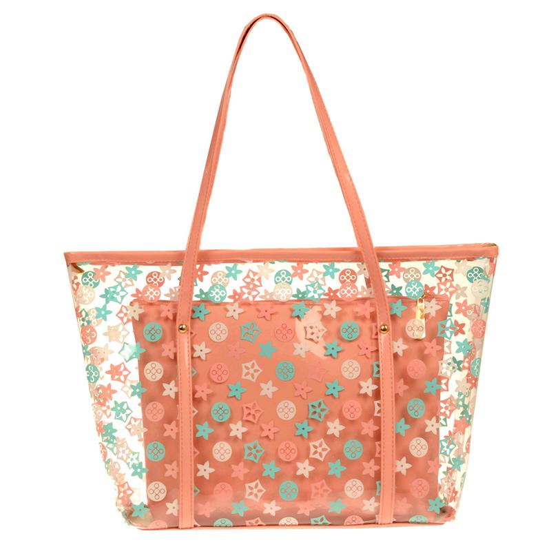 2018夏季新款手提女包老花沙滩包时尚透明包单肩包子母塑料包