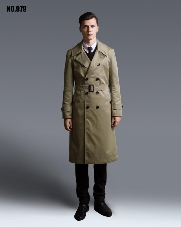 Extra long áo gió nam kaki 2018 mùa xuân và mùa thu mới Châu Âu và Mỹ đôi ngực áo khoác kích thước lớn áo khoác nam SỐ 979