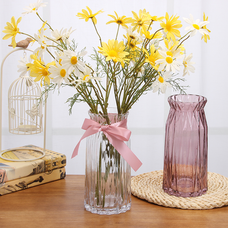 Usd 1998 European Style Embossed Flowers Glass Vase Transparent