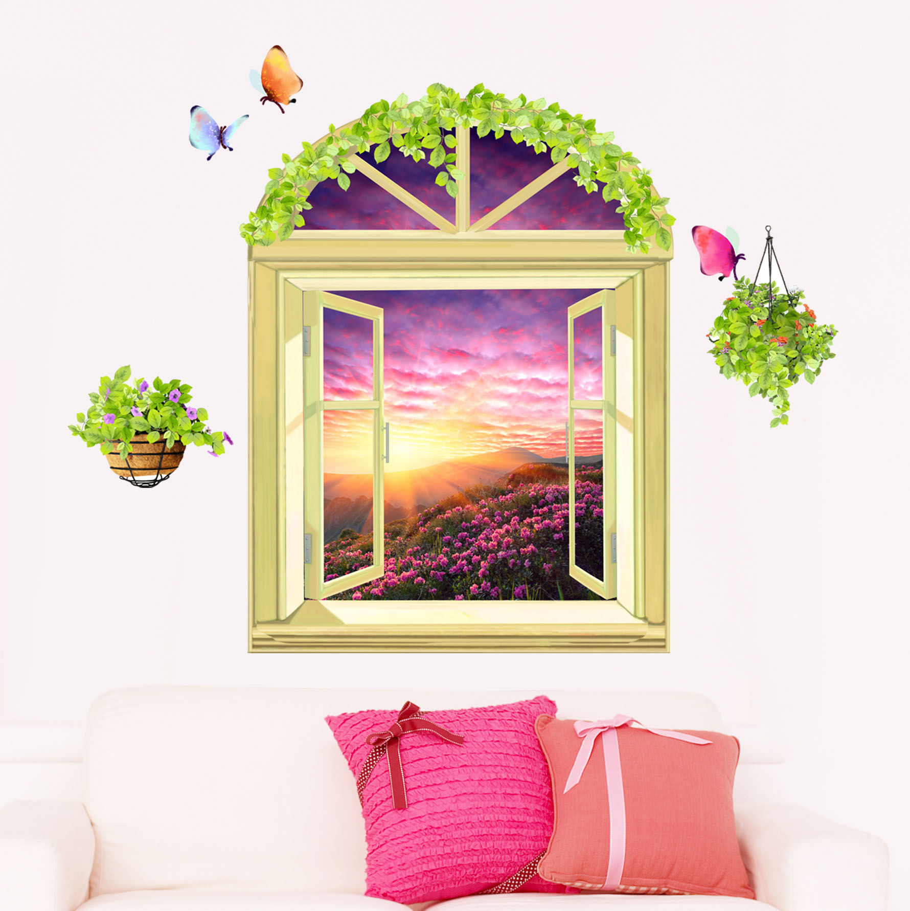 3D wall sticker room bed decoration stickers bedroom creative wall ...