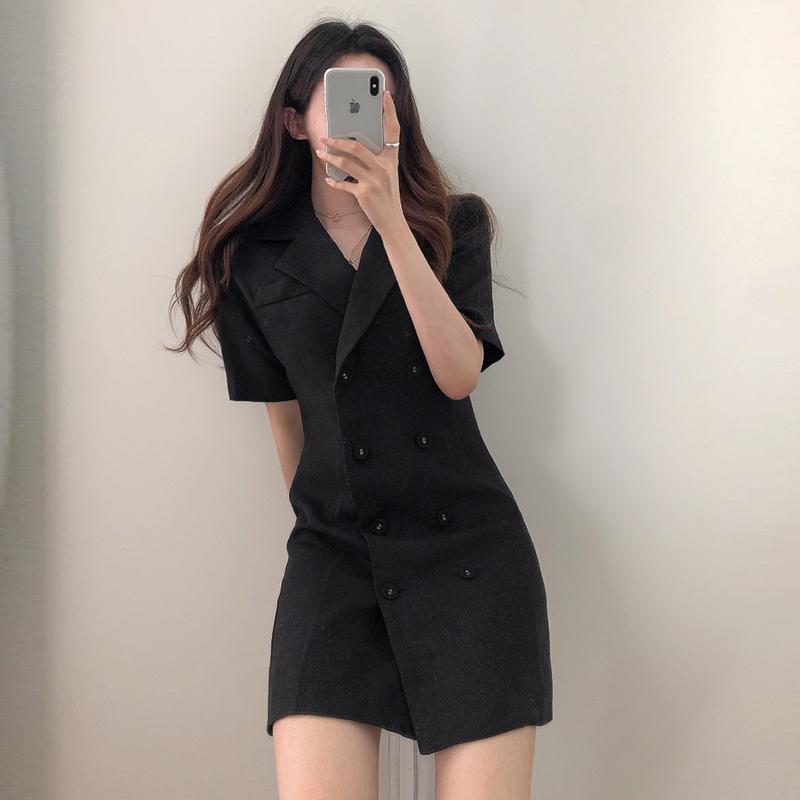 网红双排扣连衣裙西装领外套女法式复古收腰显瘦黑色短袖修身西服