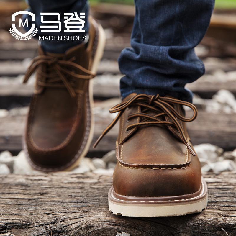皮鞋鞋男工装秋冬季2019新款大头百搭v皮鞋潮流鞋子马丁靴低帮潮鞋