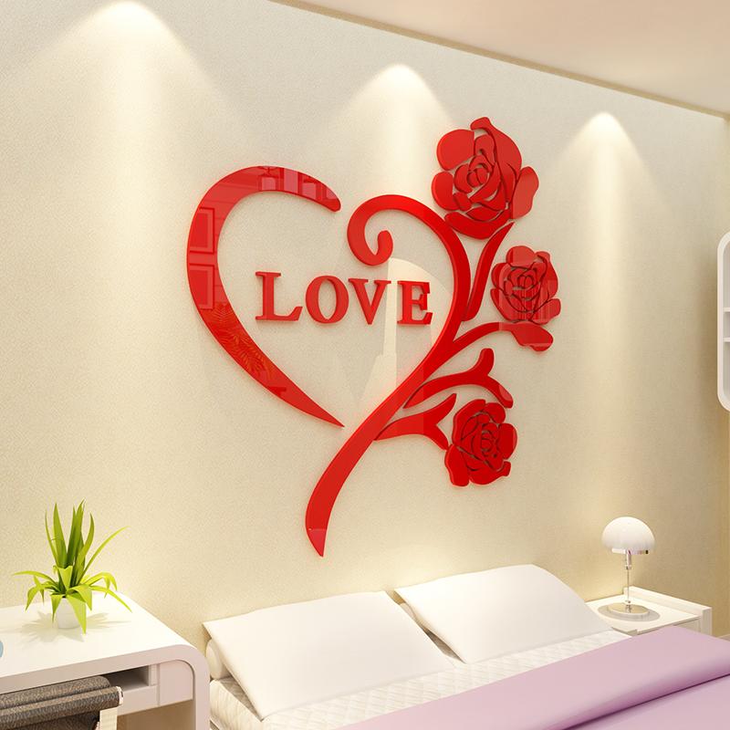 love立体新玫瑰包邮3D卧室亚克力婚庆墙贴特价温馨浪漫水晶创意