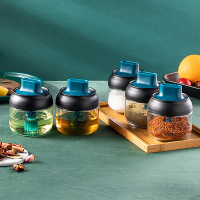 Kitchen seasoning jar, glass seasoning box, spoon cover, integrated storage jar, household salt sugar bottle combination set, oil can