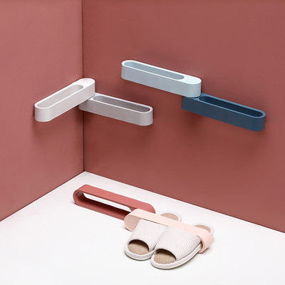 Toilet rotating slippers rack free perforated wall hanging bathroom racks behind the toilet door slippers shelf storage shelf