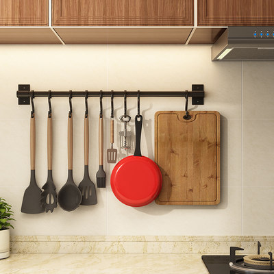 Wall-free kitchen hook strong spoon wall wall wall hanging rod set kitchen utensils hook