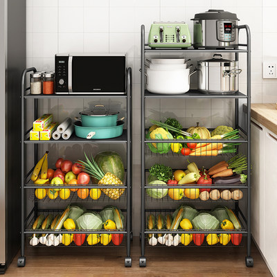 Kitchen rack movable trolley floor multi-layer microwave storage vegetable frame basket multi-function pot stand