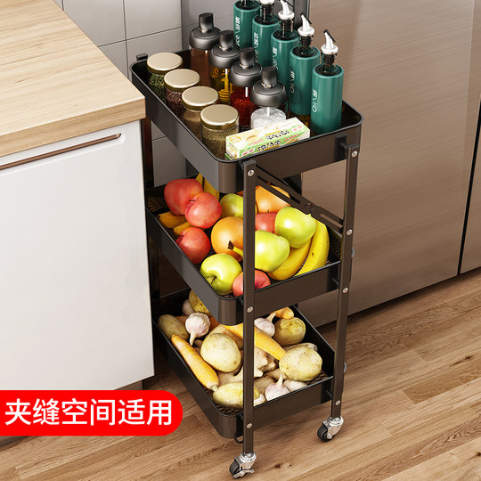 Kitchen folding trolley rack floor type multi-layer movable household vegetable basket seasoning bottle storage rack