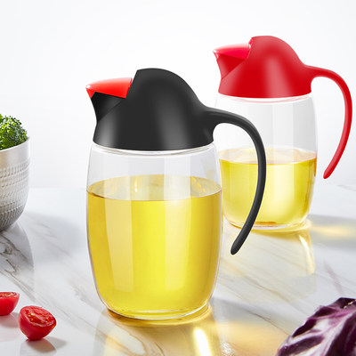 Glass oil pot edible oil bottle leak-proof home automatic opening and opening and filling bottle kitchen filter oil supplies seasoning bottle