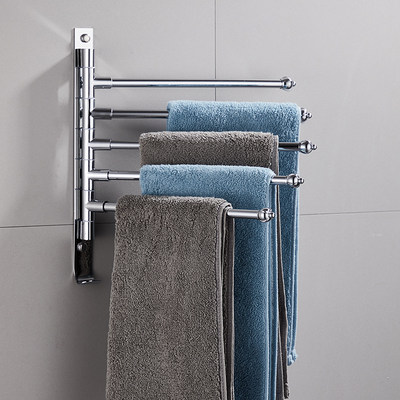 Delivery rotating towel rack stainless steel bathroom bathroom bath towel rack multi-pole toilet wall hanging shelf