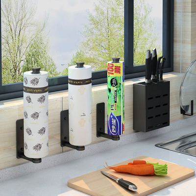 Kitchen free punching paper towel wall hanging rack household plastic wrap storage rack cabinet roll cartridge