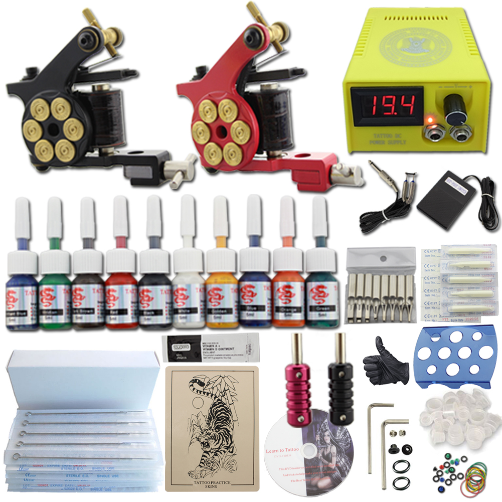 New complete tattoo kit 2 gun machine 10 ink power supply for Tattoo supplies ebay