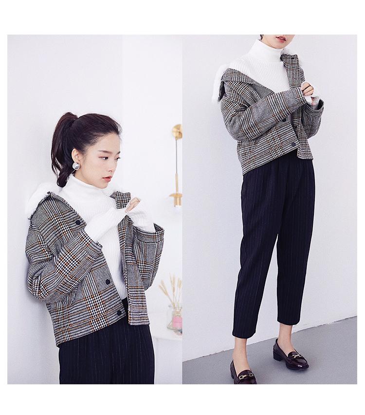 Mùa thu và mùa đông áo len nữ dày ấm lớn siêu có thể tháo rời giả lông thỏ cổ áo ngắn áo len áo khoác nhỏ