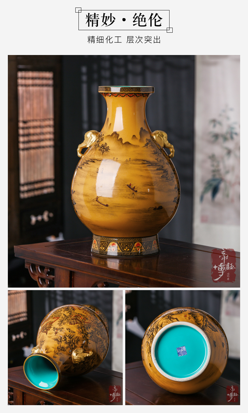 Antique hand - made yellow glaze color ink pavilions of jingdezhen ceramics grain elephant statute of the sitting room porch Chinese vase furnishing articles