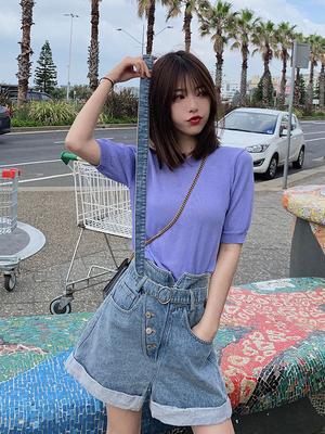 大喜自制春夏新款百搭设计感系腰带收腰短款时尚牛仔裤女