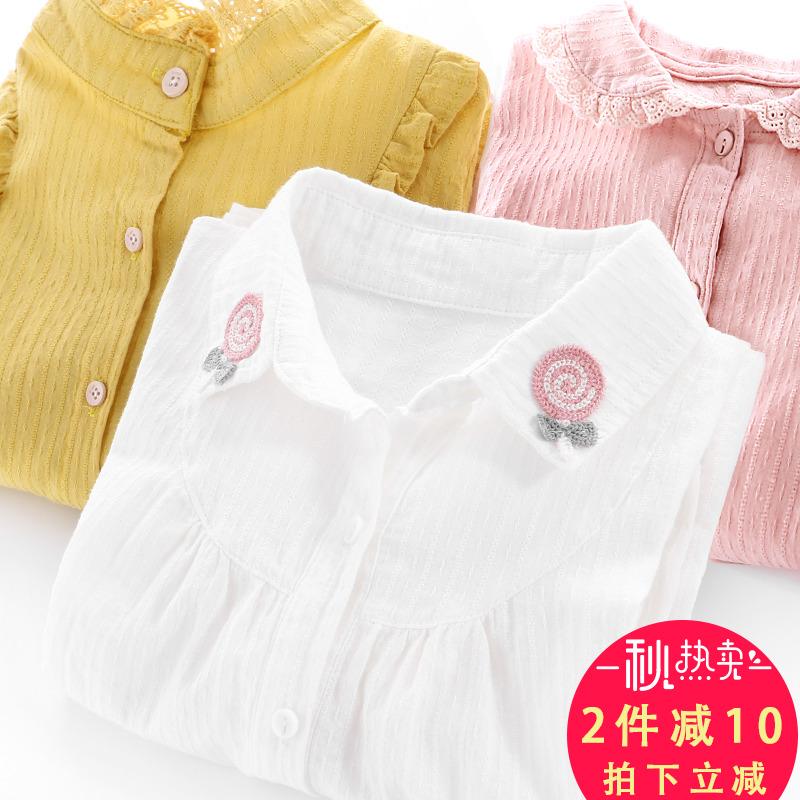 На девочку Иностранный газ сорочка длинный рукав демисезонный Устанавливает 2018 новый корейская версия детские белый рубашка чистый хлопок женщина детские верх Одежды детское