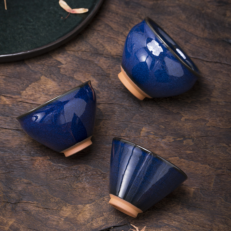 Bai Xinggui all hand-made back blue glaze Jiandang large master teacup Fujian Jian kiln Jianyang iron tire Sun Jianxing the same.