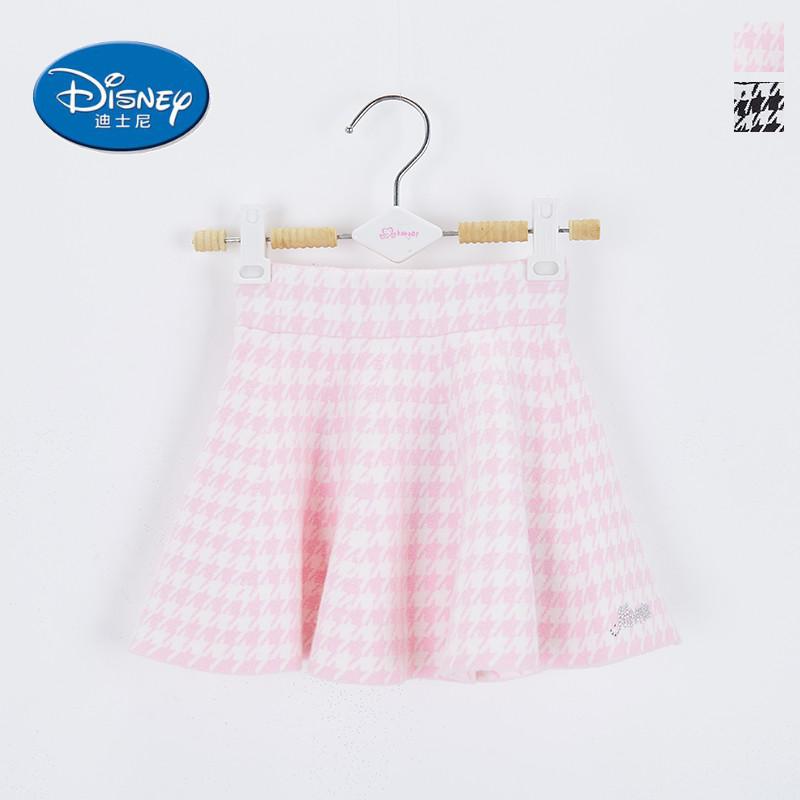 品牌折扣迪士N*中大女童装秋冬粉色荷叶边格子毛呢半身短裙厚双层