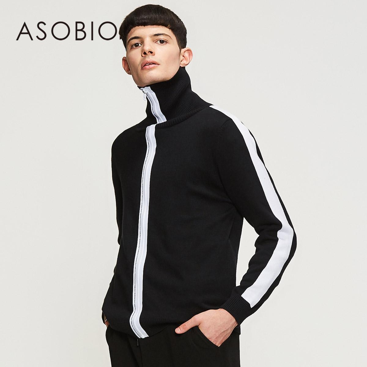 Asobio nam cao cổ áo thun áo len thể thao đường phố cao chic sọc màu sắc tương phản 3814231256