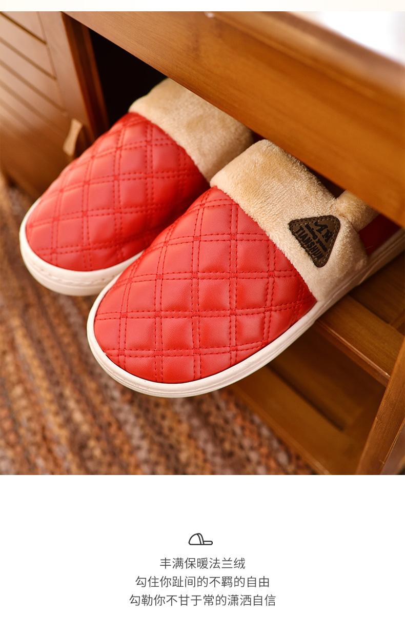Bông dép nữ da mùa đông không thấm nước túi nặng có đáy với nam nhà trong nhà mùa đông của nam giới giày độn bông những người yêu mùa đông ấm áp