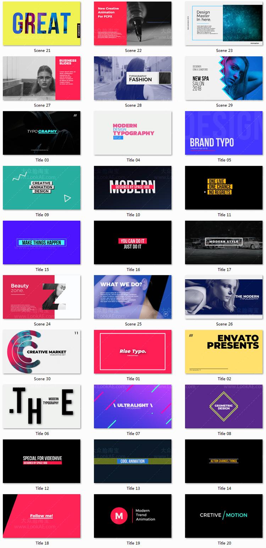 FCPX插件:30种流行排版设计文字标题包装动画 Final Cut Pro X插图1