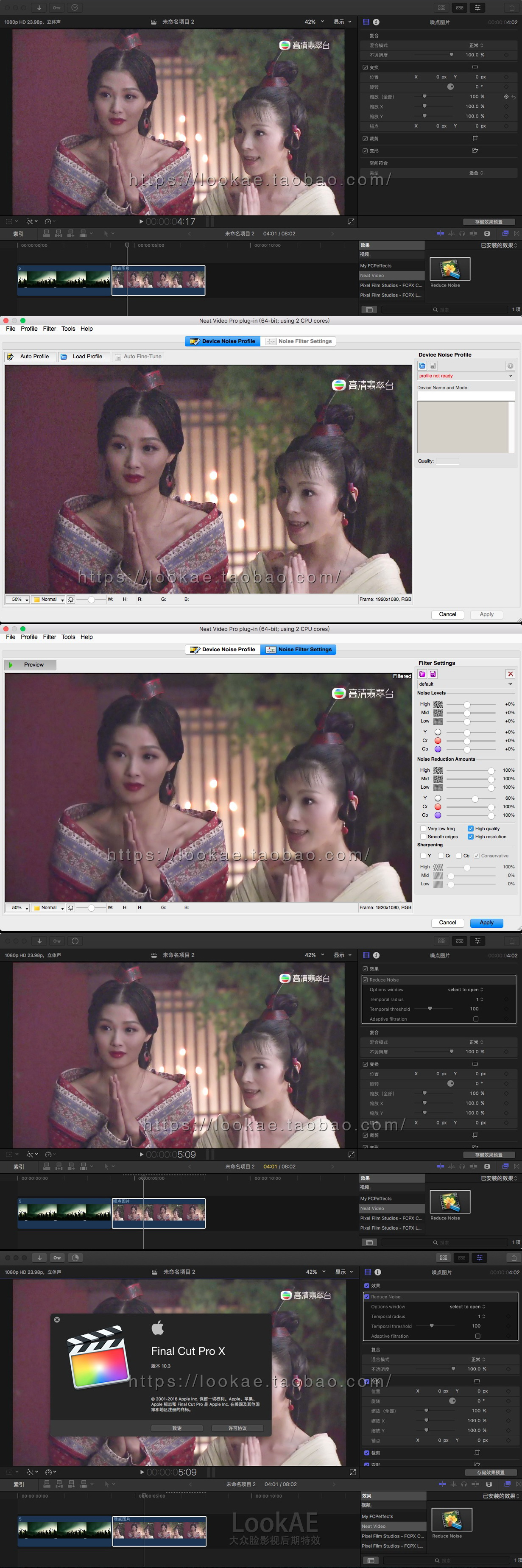 how to use neat video fcpx