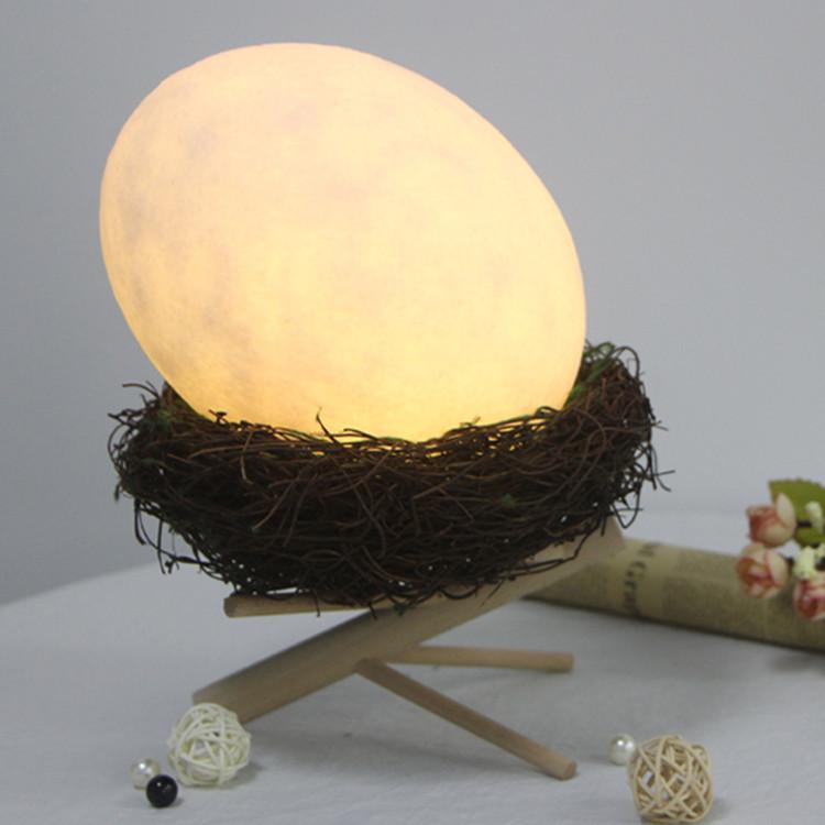 创意台灯小夜灯LED遥控氛围变色灯USB充电节能七彩灯鸟巢装饰鸟蛋