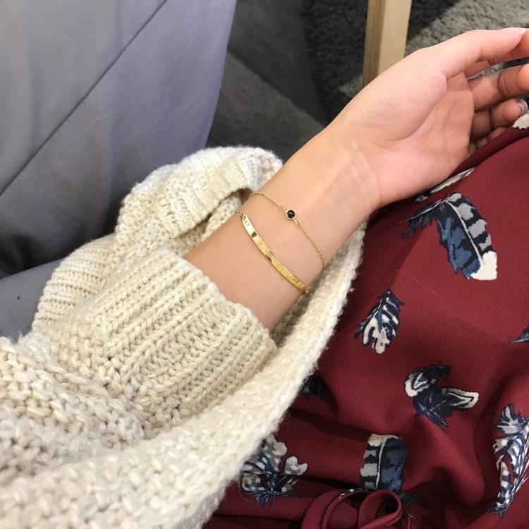 日韩国气质百搭简约双层弯管手链手镯首饰品生日礼物配饰女S003
