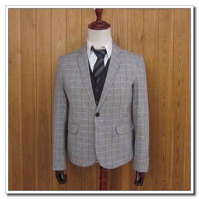 Korean version of the British trend of fashion men's autumn fall a single-breasted plaid short casual suit A286