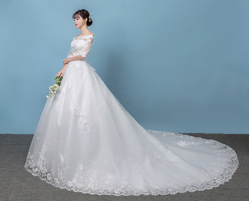 2ddc64e9f4f One-shoulder main wedding dress 2019 new Korean big tail long-sleeved lace  Qi large size ...