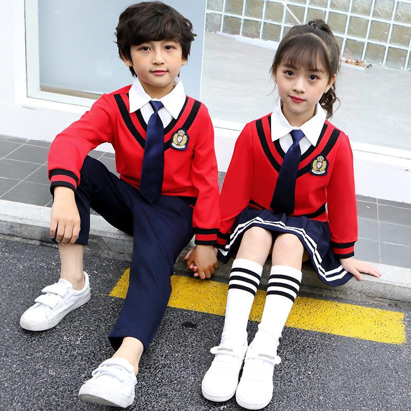 校服园园服春秋季衬衫小学生班服幼儿套装领假两件男女童裙子儿童