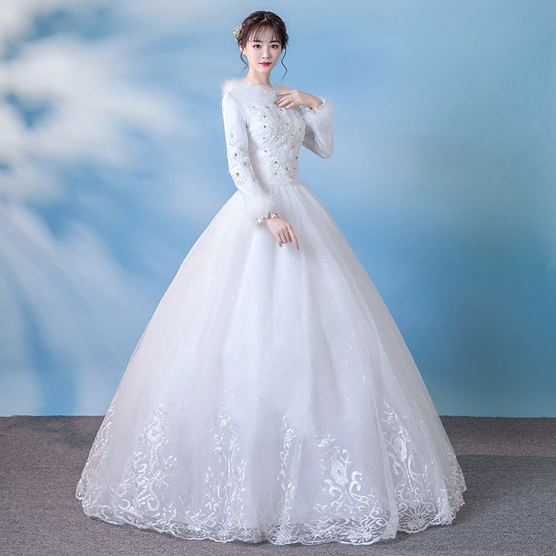 USD 104.39] Wedding dresses winter 2017 new plus thick autumn winter ...