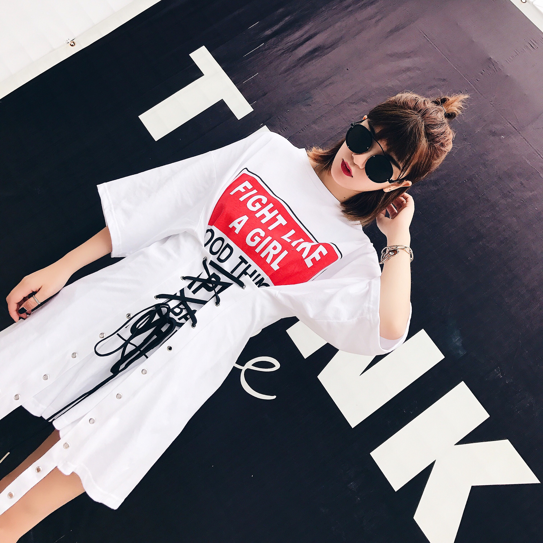 2017夏装新款复古短袖t恤女学生宽松中长款绑带连衣裙bf风裙子潮