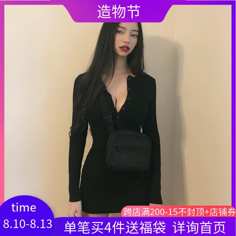 欧美ins黑色纽扣罗纹针织圆领性感连衣裙女修身显瘦长袖包臀裙