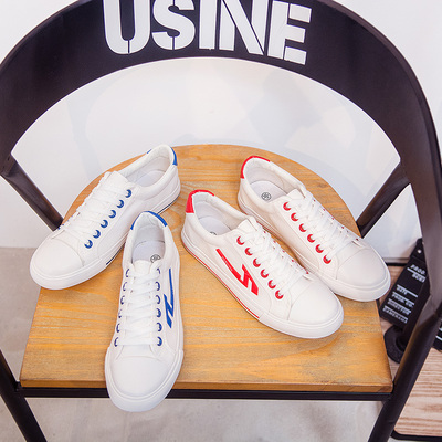 Boys low canvas shoes lace casual shoes summer shoes Korean version of the white tide shoes men's shoes flat shoes shoes